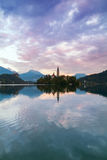 Lake Bled and the island with the church at autumn color at suns. Et in Slovenia Royalty Free Stock Photo