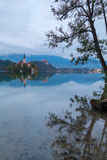Lake Bled and the island with the church at autumn color at suns. Et in Slovenia Stock Photography
