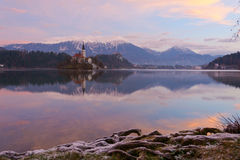 Lake Bled and the island Royalty Free Stock Photos