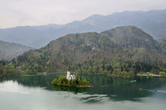 Lake Bled. Island in Slovenia Royalty Free Stock Image