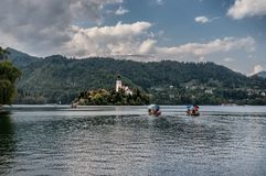 Lake Bled with the island in Slovenia stock images