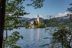 Lake Bled with the island in Slovenia royalty free stock photos