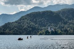 Lake Bled with the island in Slovenia royalty free stock images