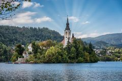 Lake Bled with the island in Slovenia royalty free stock photography
