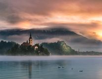 Lake Bled. Is a lake in the Julian Alps of the Upper Carniolan region of northwestern Slovenia, where it adjoins the town of Bled. The area is a tourist Royalty Free Stock Photo