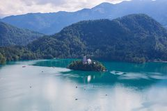 Lake bled. With a beautiful island in the middle of the lake Stock Photo