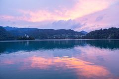 Lake Bled. With a beautiful island in the middle of the lake at sunset Stock Images