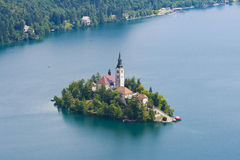 Lake Bled. Lonely Drop island on Lake Bled Stock Images