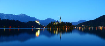 Lake Bled. Monastery on a minute island on a lake, surrounded by picturesque mountains. Slovenia Royalty Free Stock Images