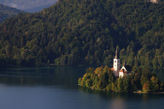 Lake Bled in the morning Stock Image