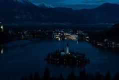 Lake Bled at night royalty free stock photography