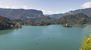 Lake Bled panorama in Slovenia stock photography