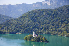Lake bled. Photo of scenic bled island with church on it Royalty Free Stock Photos