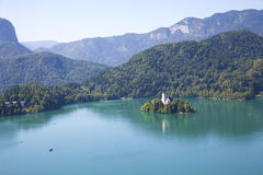 Lake bled3. Photo of scenic bled island with church on it Royalty Free Stock Photos
