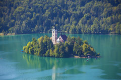 Lake bled2. Photo of scenic bled island with church on it Stock Photography