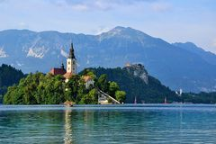 Lake Bled. Romantic view on church on lake bled stock photography