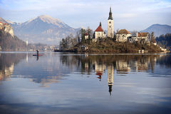 Lake Bled Scene. A man rowing away from the Church of the Assumption island in lake Bled, Slovenia stock image