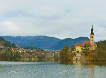 The Assumption of Mary on the Bled Isle. Scenic view of Bled Island and The Assumption of Mary from shore Stock Photo