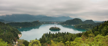 Lake Bled, Slovenia. View on lake Bled with small island with church and castle on rock in Slovenia, Europe Stock Image