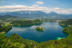 Lake Bled in Slovenia. Panoramic view of Lake Bled with  St. Mary´s Church of the Assumptionon on the small island Stock Photo