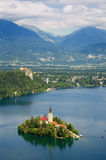 Lake Bled in Slovenia. Panoramic view of Lake Bled with  St. Mary´s Church of the Assumptionon on the small island Royalty Free Stock Photography