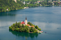 Lake Bled in Slovenia. Panoramic view of Lake Bled with  St. Mary´s Church of the Assumptionon on the small island Stock Photography