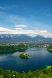 Lake Bled in Slovenia. Panoramic View of  St. Mary´s Church of the Assumptionon on the small island in Bled, Slovenia Stock Images