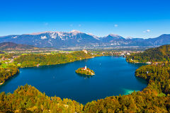 Lake Bled, Slovenia. Aerial view of Lake Bled in Slovenia Royalty Free Stock Image