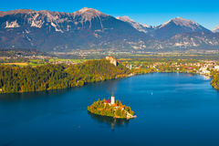 Lake Bled, Slovenia. Aerial view of Lake Bled in Slovenia Stock Photos