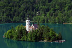 Lake Bled, Slovenia. View on lake Bled, Slovenia, with its nice church on an island in the middle of a lake Stock Photography