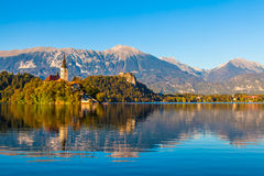 Lake Bled, Slovenia. Lake Bled in Slovenia with the Church and the Castle Royalty Free Stock Photo