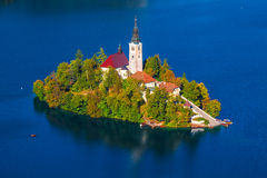 Lake Bled, Slovenia. Island on Lake Bled in Slovenia, with the  Church of the Assumption Royalty Free Stock Photography