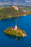 Lake Bled, Slovenia. Elevated View of Lake Bled in Slovenia with Bled Island and Bled Castle Royalty Free Stock Image