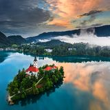 Lake Bled, Slovenia - Beautiful aerial view of Lake Bled Blejsko Jezero with the Pilgrimage Church of the Assumption of Maria