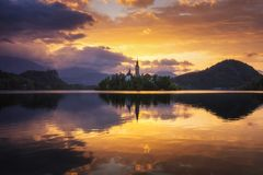 Lake Bled Slovenia. Beautiful mountain Bled lake with small Pilg stock photo