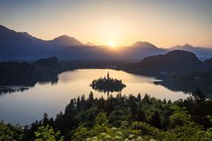 Lake Bled Slovenia. Beautiful mountain Bled lake with small Pilgrimage Church. Most famous Slovenian lake and island Bled with Pi. Lgrimage Church of the stock image