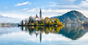Lake Bled Slovenia. Beautiful mountain lake with small Pilgrimag Stock Images