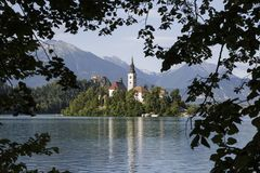 Lake Bled Slovenia. Beautiful mountain lake with small Pilgrimage church Royalty Free Stock Photography
