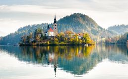 Lake Bled Slovenia. Beautiful mountain lake with small Pilgrimag Royalty Free Stock Photo