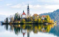 Lake Bled Slovenia. Beautiful mountain lake with small Pilgrimag Stock Image