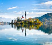 Lake Bled Slovenia. Beautiful mountain lake with small Pilgrimag Royalty Free Stock Images