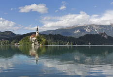 Lake Bled in Slovenia with Church of the Assumption royalty free stock images