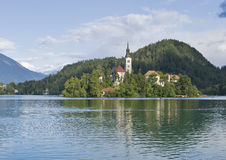 Lake Bled in Slovenia with Church of the Assumption Royalty Free Stock Photography