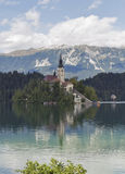 Lake Bled in Slovenia with Church of the Assumption royalty free stock image