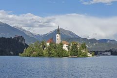 Lake Bled in Slovenia with Church of the Assumption stock image