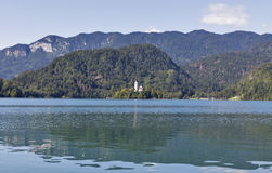 Lake Bled in Slovenia with Church of the Assumption stock photo