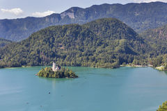 Lake Bled in Slovenia with Church of the Assumption Stock Images