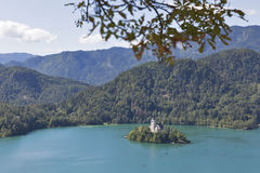 Lake Bled in Slovenia with Church of the Assumption Stock Photography