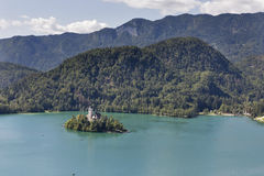 Lake Bled in Slovenia with Church of the Assumption Stock Photos