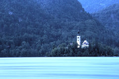 Lake Bled, Slovenia. Church of the Assumption Island seen at the blue hour on Lake Bled, Slovenia Stock Photo